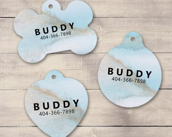 Blue Marble Stone Pet ID Tag, Custom Pet Tag, Personalized Dog Tag, Dog ID Tag, Marble Print Pet Tag, Puppy Tag, Dog ID, Pet Tag (0005)