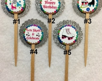 Set Of 12 Roller Skating Birthday Party Cupcake Toppers (Your Choice Of Any 12)