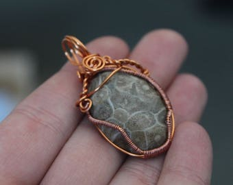Coral Wire Wrapped Pendant - Copper