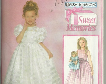 "Simplicity 5040 Daisy Kingdom Sizes 3 4 5 6 Girl's Flowergirl and 18"" Doll Dress & Overdress UNCUT"