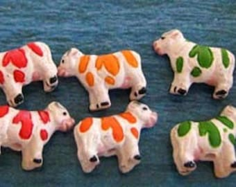 10 Tiny Cow Multicolored Beads