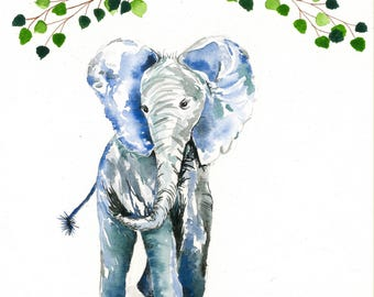 Hand Painted Water Color Elephant