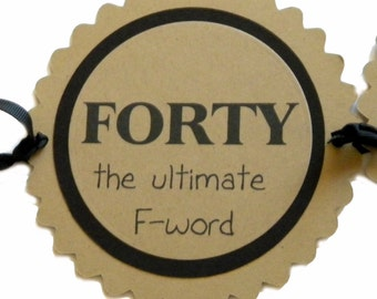 40th Birthday Banner - Forty the Ultimate F-Word - Black, Kraft Brown or Your Colors