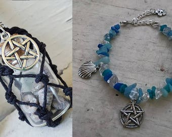 Sea Witch Bundle with Vial Necklace with Bracelet - Choice of color hemp and crystals