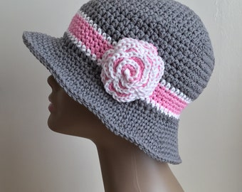 Women's crochet  sun hat, summer / spring, beach hat, brim, COTTON, Gray, pink, white, removable flower,  Ready to ship.  S92