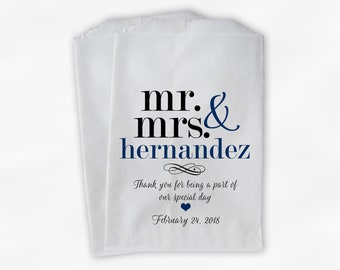 Mr & Mrs Candy Buffet Bags - Personalized Last Name Wedding Favor Bags - Black and Navy Blue Paper Treat Bags