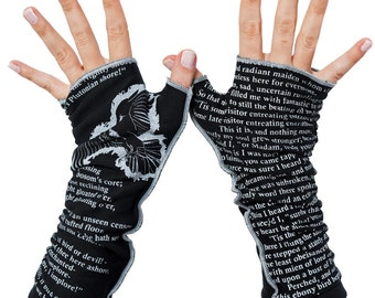 The Raven Writing Gloves - Fingerless Gloves, Arm Warmers, Edgar Allan Poe, Literary, Book Lover, Books, Reading