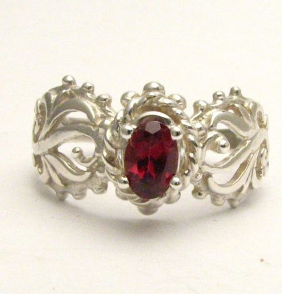 Red Burgundy Rhodolite Garnet Filigree Swirled Design Solid Sterling Silver.  Custom Sized to fit you.