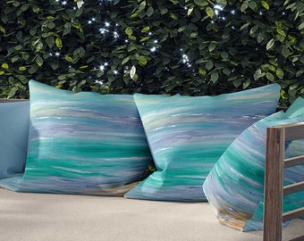 Outdoor Pillows with Inserts, Throw Pillows for Outdoors, Decorative Pillows, Outdoor Patio Cushions, Coastal Pillows Blue Gray Turquoise