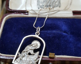 Vintage Sterling Silver Necklace, Virgin Mary and Baby Jesus, Silver Chain