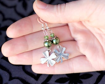 Green St. Patrick's Day Earrings, Silver Clover Earrings, Green Earrings, 4 Four Leaf Clover, Crystal Earrings, Gifts for Her, Lucky