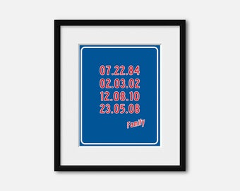 Special Dates Art print, Family Dates poster, Anniversary Gift, Custom Dates, Chicago Cubs Gift, Custom Family Dates, Birthdate Decor