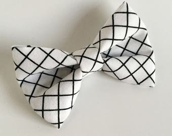 Bow Tie , Black and White Bow Tie, White with Black Grid Lines