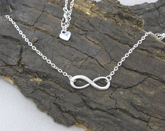 Necklace Earrings Infinity Silver with Heart