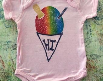 Baby Onesie, Pink, with Rainbow Shave Ice Block Print, Six (6) or Twelve (12) Months