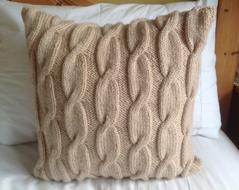 Hand knitted cafe latte colour all over cable pattern Aran cushion cover