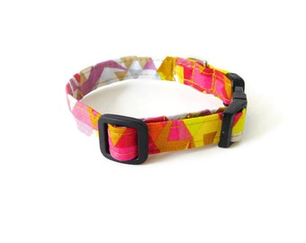 Pink and gold triangle collar, pink and gold dog collar, geometric pet collar, yellow and grey cat collar, multicolor collar