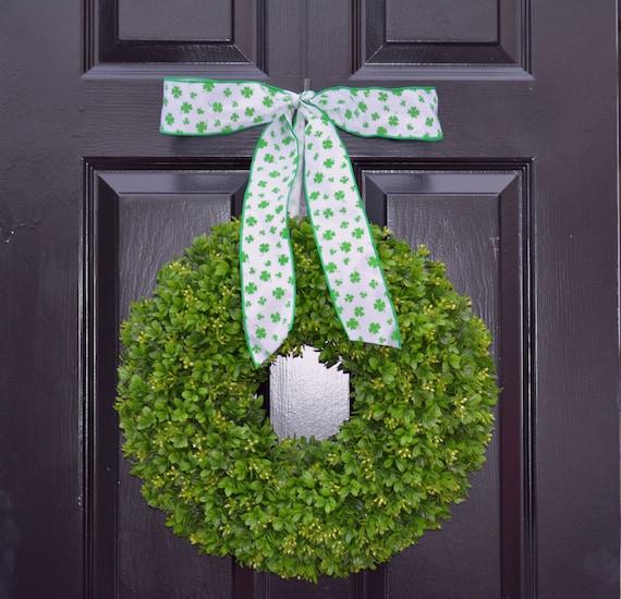 Shamrock Boxwood St Patrick Day Wreath St Patricks Day Boxwood Wreath- Irish Decor- Door Wreath- Removable Bow Year Round Wreath