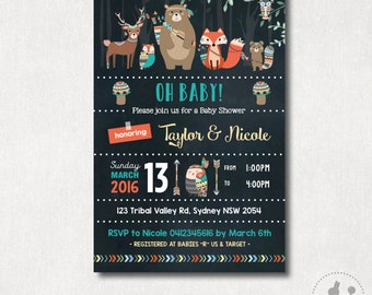 Tribal Baby Shower Invitation. Tribal Animals Invite. Chalkboard Digital Invitation. Boho Baby Shower. Arrows. Teepee. Pow Wow Party. TRI1