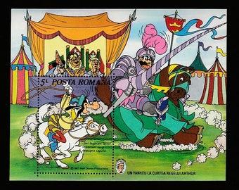 Disney-Goofy Riding Horse-Postage Stamp-Romania-Yankee in King Arthur's Court Scene-Medieval Knight-Movie Characters-Posta Romana Sheet