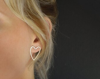 Silver Heart Earrings - Stud Earrings - Silver Heart post earrings - UK Handmade