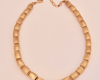 "Vintage ""CROWN TRIFARI"" Gold Plated Barrel Bead Choker Necklace"