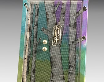 Stud Earring Holder for Pierced Earrings. Wood Frame Jewelry Organizer. Birch Tree Jewelry Holder with Hand Painted Screen. Gift Idea!