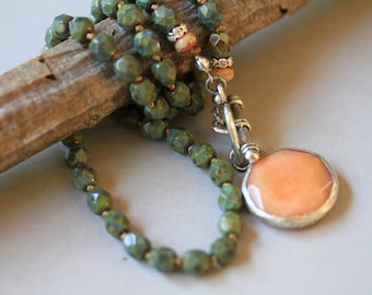 Apricot Orange Jade, Olive Green Czech Glass Dangling Front Closure Boho Style Knotted Necklace