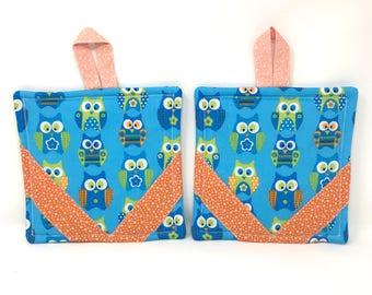 Owl Reversible Pot Holder Set of 2   Blue Owl Pot Holders   Blue Farmhouse Pot Holders   Kitchen Trivets   Farmhouse Style  Hot Plates  