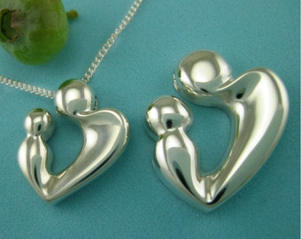 Mom Jewelry, Silver Mother and Child, New Mother Gifts, 'Loving Heart' Pendant with Chain, Shower Gifts, from our Mère et Enfant Collection
