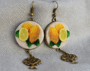 Lemon earrings Gardening gift Cross stitch jewelry Embroidered earrings Yellow lemon jewelry Tree charm Hand embroidered jewelry
