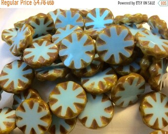 ON SALE Czech Carved Coin Bead 18mm Sky Blue Picasso QTY 4