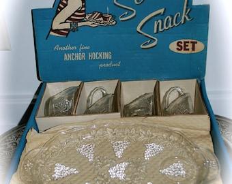 Vintage Anchor Hocking ServaSnack Glass Serving Set