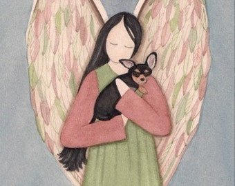 Black and tan chihuahua with angel / Lynch signed folk art print