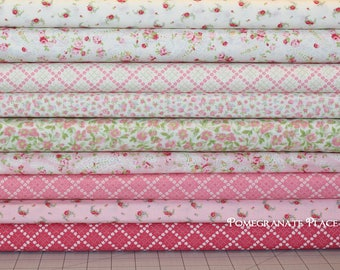 9 fat quarter bundle GUERNSEY in Bloom and Linen .. Brenda Riddle Designs .. Moda fabric ..  Linen and Pink colorway