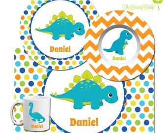 Personalized Plate Bowl Mug \u0026 Placemat - Dinosaur Plate - Dino Dinnerware for Boys  sc 1 st  Etsy & Construction Plate Set Personalized Kids Plate Bowl Mug \u0026