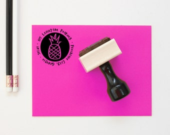 Personalized Return Address Stamp Hand Lettered Tropical Pineapple Rubber Stamp Wedding Invitation Stamp Wedding Gift Housewarming Gift