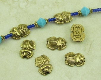 5 Egyptian Scarab Beetle Beads > Egypt Mummy Archeology - Raw American made Lead Free Pewter in gold tone finish - I ship internationally