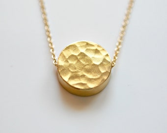 Simple gold necklace etsy gold disk necklace hammered round gold pendant thick gold coin charm gold aloadofball Choice Image