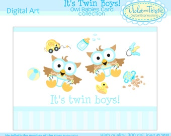 Twin Baby Boy Owls Card baby shower invitation announcement greeting card Its Twin Boys Printable Instant Digital Download Blue Yellow