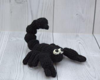 Small black scorpion - Stuffed mini scorpion - Handmade scorpion - Little scorpio scorpion - Soft crochet scorpion - Scorpion figurine