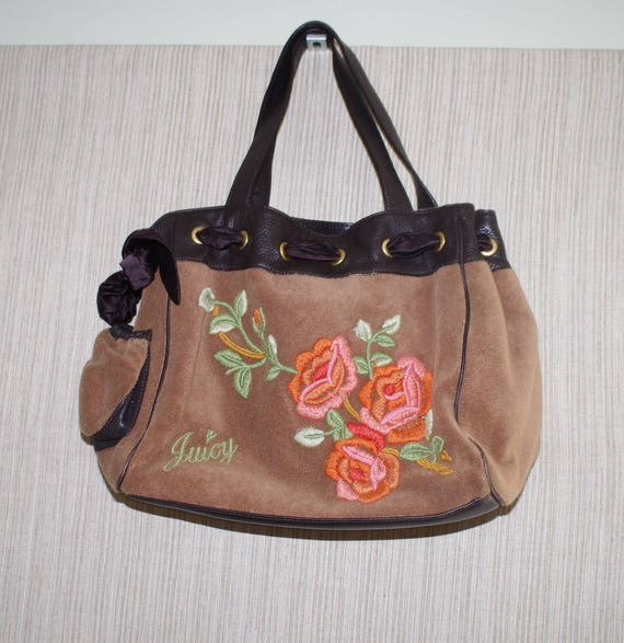 Juicy Couture Brown Flower HandBag Embroidered Velvet