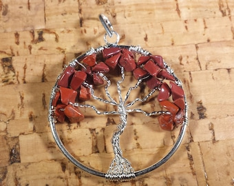 RED JASPER Tree Of Life Wire Wrapped Pendant Stone Natural Gemstone
