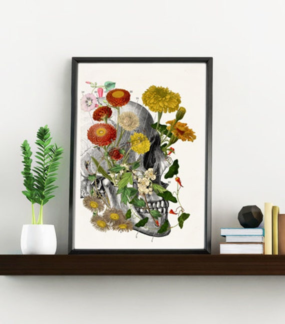 Wild flowers on Skull, Anatomy art, Anatomical art, Wall art, Wall decor, Anatomy, Medical gift, Wholesale, Gift for doctor,  SKA094WA4