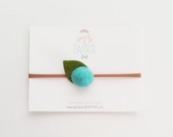 Turquoise Flower Headband / Felt Flower Headband / Newborn Headband / Baby Flower Headband / Dainty Flower Headband / Baby Shower Gift