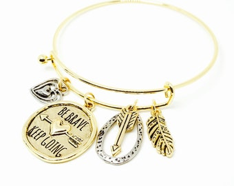 "Gold ""Be Brave & Keep Going"" Charm Bracelet"
