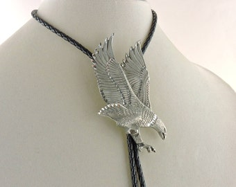 "38"" Weaved Black Leather Bolo With Pewter Eagle Slide And Pewter Feather Tips"
