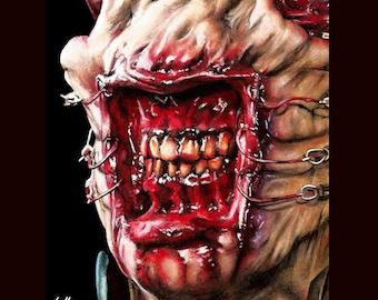 """Print 8x10"""" - Chatterer - Cenobite Hellraiser Cenobite Horror Dark Art Science Fiction Leviathan Box Hell Evil Monster Clive Barker Pinhead"""