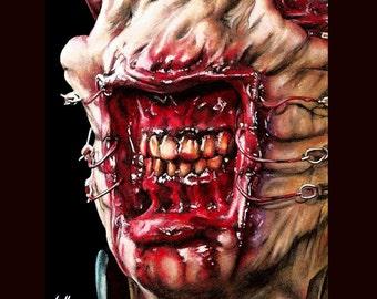 Tirage 8 x 10» - Chatterer - Cenobite Hellraiser Cenobite horreur Dark Art Science Fiction Léviathan boîte enfer monstre mal Clive Barker tête d'épingle