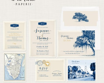 Destination wedding illustrated invitation Charleston South Carolina USA Vintage Oak Tree with Spanish Moss - Deposit Payment